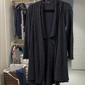 Eileen fisher merino wool black cardigan